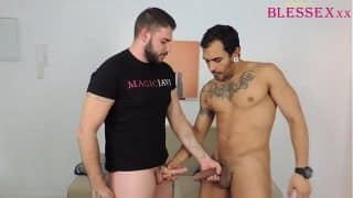 My friend encourages me to taste his cock